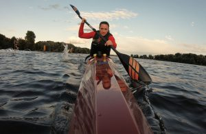 Edina Müller at canoe practice for paralympics is Paralympic champion in wheelchair basketball brave stories